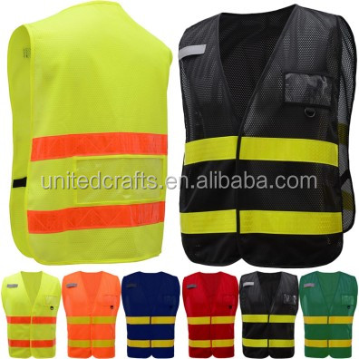 Fluorescent yellow Reflective Breathable Body Warm Jacket/high visibility safety traffic police jacket