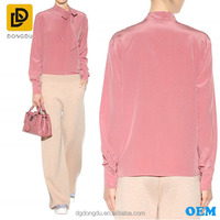 Adjutable tie bow long sleeve silk crepe de chine blouse