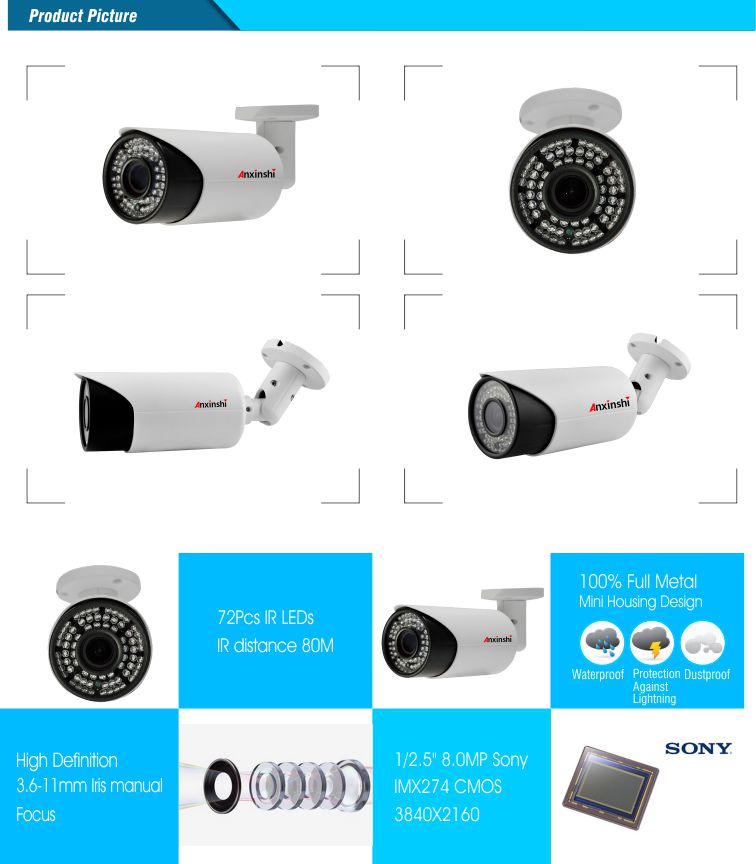 4K 8.0MP HD IP Color IR Bullet CCTV Camera Sony IMX274 mobile phone monitoring and P2P onvif camera