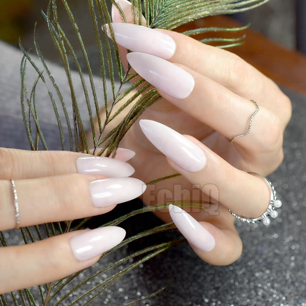 Pointed  Fake Nails Fashion Nude Pink Plastics Full Nails Shiny Manicure Tips with Glue Sticker