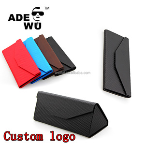 ADE WU cheap folding leather sunglasses case custom your own logo