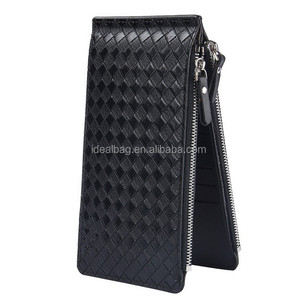 Korean Super slim big capacity woven grain leather id credit card holder money clip wallet for men
