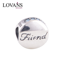 Best Friend Solid 925 Silver Jewelry Round European Beads Custom Made Charms Wholesale YZ531