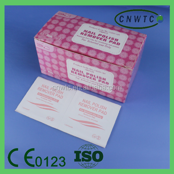 disposable cosmetic remove nail polish pads/wipes