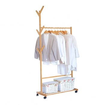 Multi-function bamboo garment laundry storage hanger cloth rack with rolling wheel for entryway and bed room