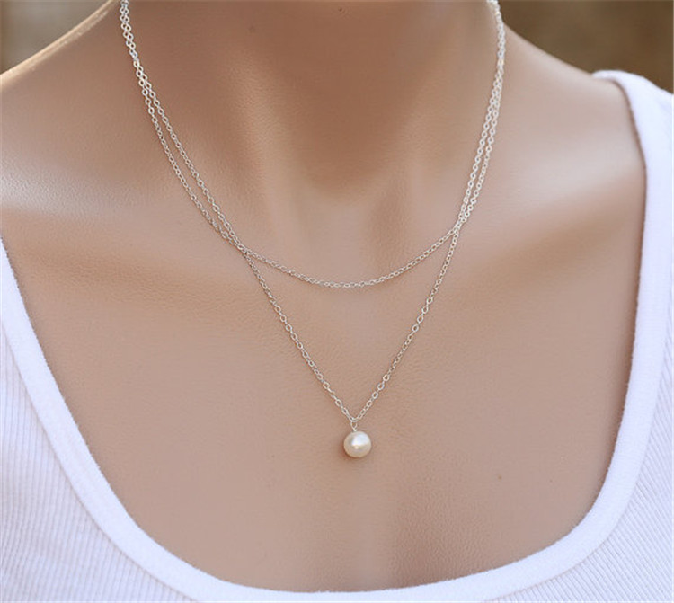 MYLOVE XC175 simple chain necklace 2 layers imitation pearl choker