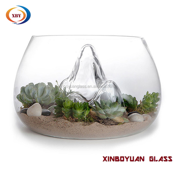 Clear Desktop Round Glass Vases Fish Bowlglass Terrarium For Plant