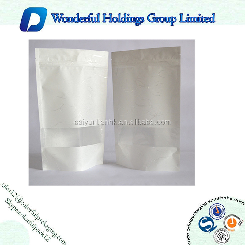 Stand up laminated zipper white Kraft paper coffee bag plastic bag with window and zipper