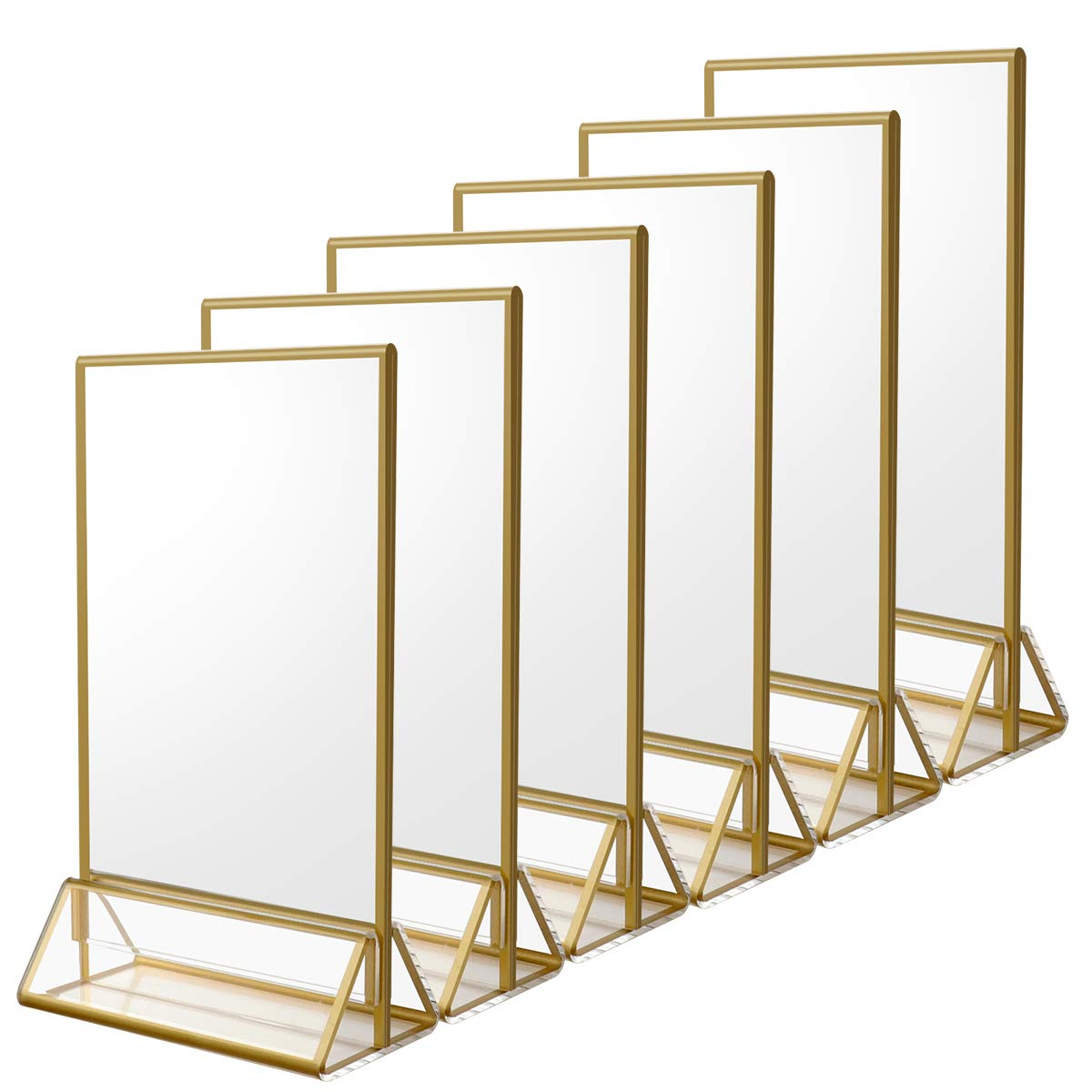 Acrylic Sign Holder with Gold Borders and Vertical Stand, Double Sided Table Menu Holders