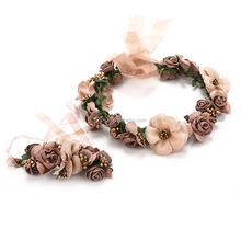 New Handmade Indian Flower Headband Hair halo Floral Garland Crown Headpiece with Ribbon