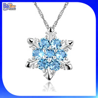 New Crystal Snowflake Pendant Necklace 925 Sterling Silver Pendant Necklace Frozen Style Snow Christmas Jewelry for Women