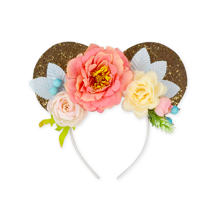 Gilr Sequin Minnie Ear Floral Headbands Flower Crown Kids Hair Accessories