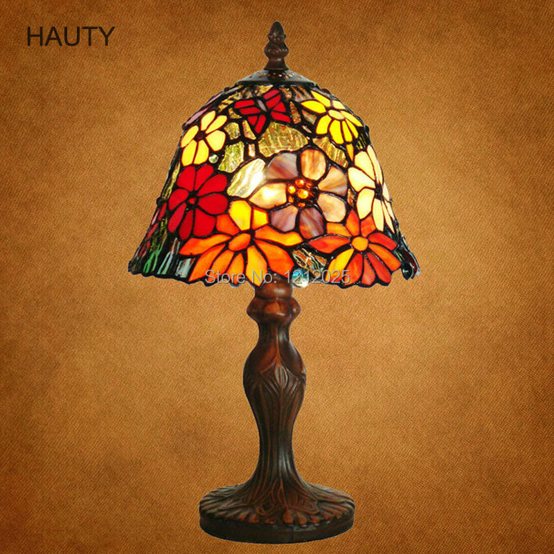 Lamparas Color Glass Led Table Lamp Hand Made Tiffany Desk: Antique Floral Design Tiffany Stained Glass Table Lamp