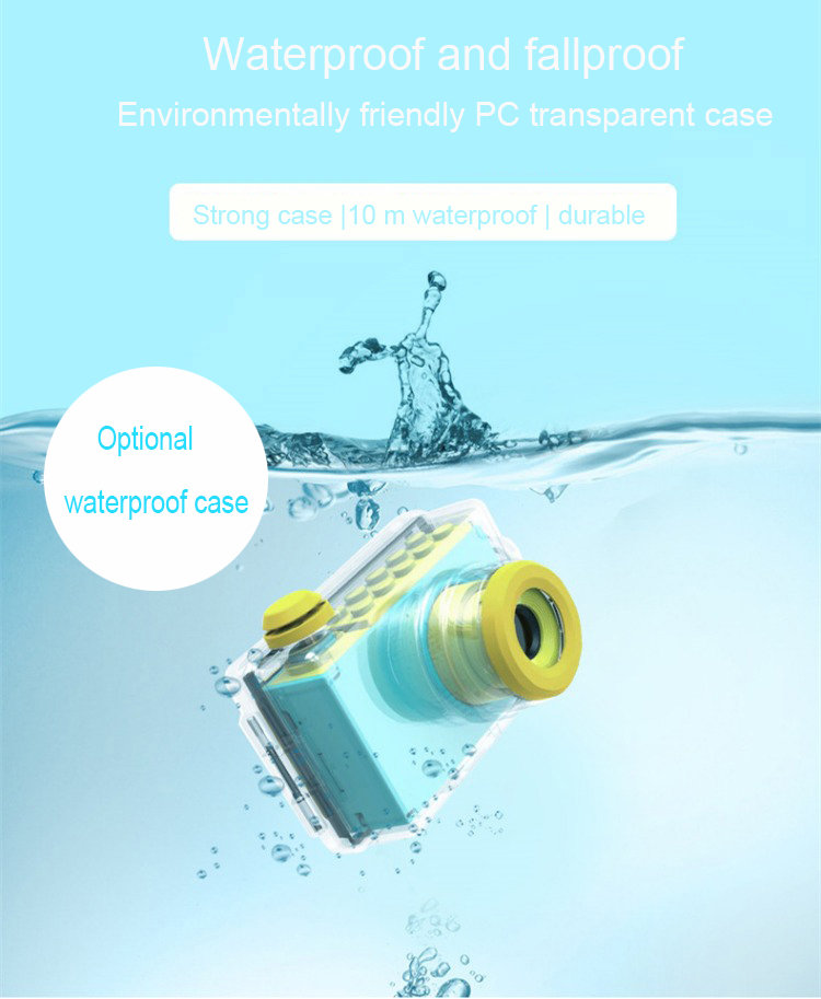 High quality 2 inch mini children kid boy girl photo video digital camera with waterproof case