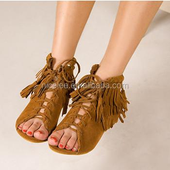 3ad1788854aa7 Ns0452 Latest Women Fashion Flat Sandals Sexy Tassels Sandals - Buy ...