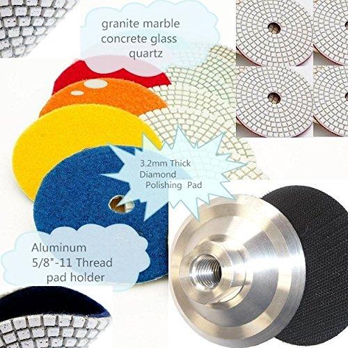 "Diamond Polishing Pads 4"" inch Wet/Dry Set of 16+1 Aluminum Backing Pad with Velcro backing pad Arbor 5/8"" 11 Diamond abrasive disc granite marble concrete glass masonry lapidary polishing"