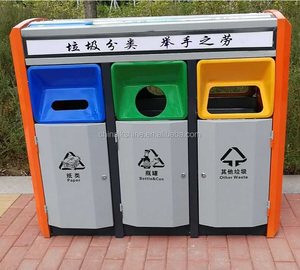 Newest Recycling Waste Paper Basket Mobile Large Garbage Bins for Public Occasions