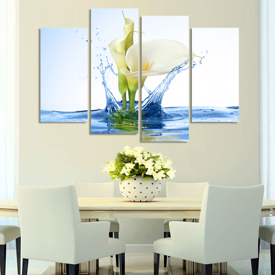 4 Pcs Hot Sell white calla Flowers Wall Art Picture Modern Home Decoration Living Room or Bedroom Canvas Print Painting Unframed