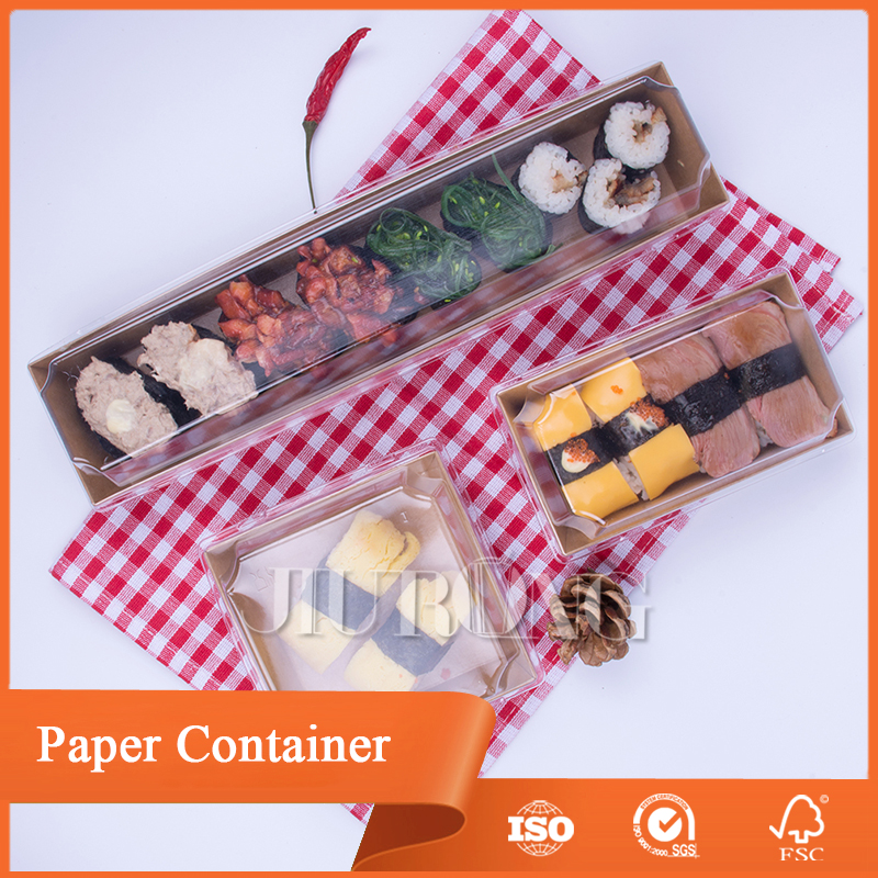 disposable kraft Sushi /food paper box with plastic lid