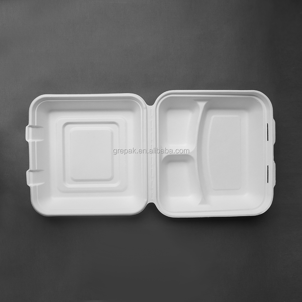 Sugarcane bagasse Biodegradable Disposable Paper Pulp 3 Compartment Lunch Box with 9 inch