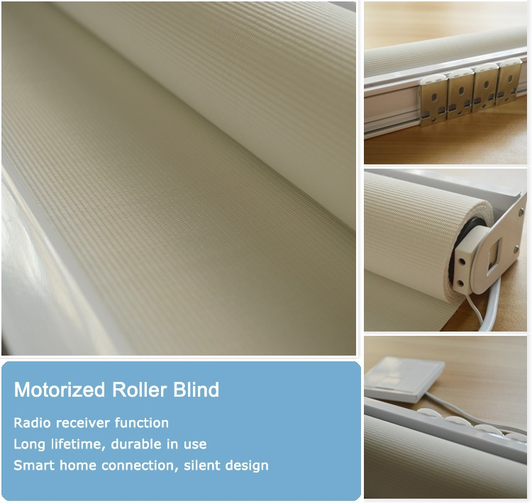 Electric roller shades with fabric motorised roller blind