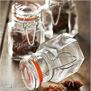 Gentil Hexagonal Glass Clip Top Airtight Spice Herb Storage Jam 90ml Jars NEW