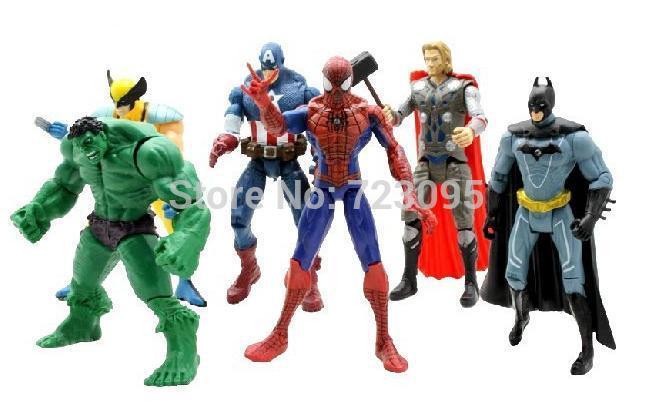 "Kids Toys Action Figure: 6pcs/sets The Avengers 5"" Captain America Wolverine Thor"