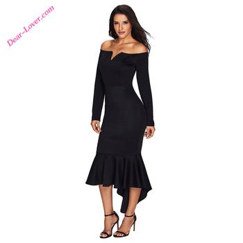 e4fd2770681 Noir Sexy Hors Épaule Manches Longues 2018 Sirène Longues robes de soirée