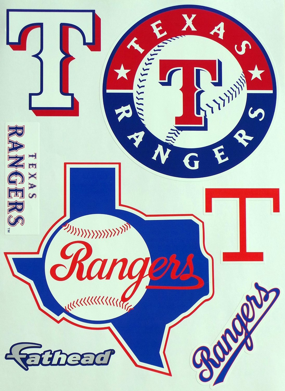 "Texas Rangers FATHEAD Team Set of 6 Rangers Logo - Official MLB Vinyl Wall Graphics 17"" INCH SHEET"