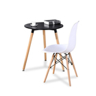 Round Dining Table Round Dining Table Hot Selling MDF Desktop Wooden Legs Simple Round Dining Table