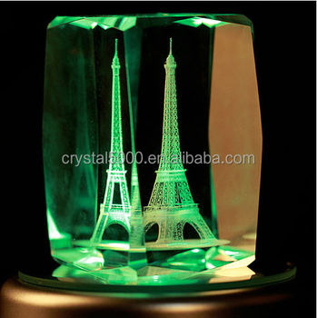 3d Crystal Blank The Eiffel Tower With Music Led Base Laser Carved ...