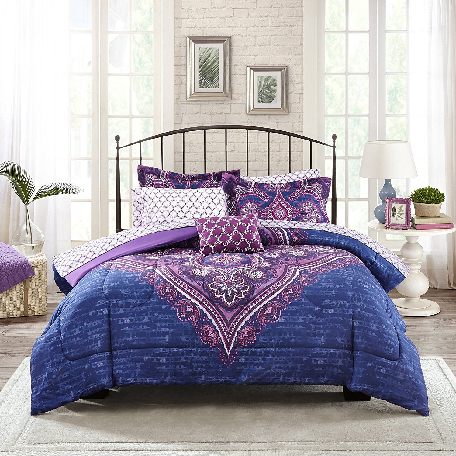 8 Piece Girls Purple Color Medallion Comforter Set With Sheets Full, Navy Floral Themed Motif Chic Boho Textured, Reversible Purple White Lattice Pattern Kids Bedding, Microfiber Polyester