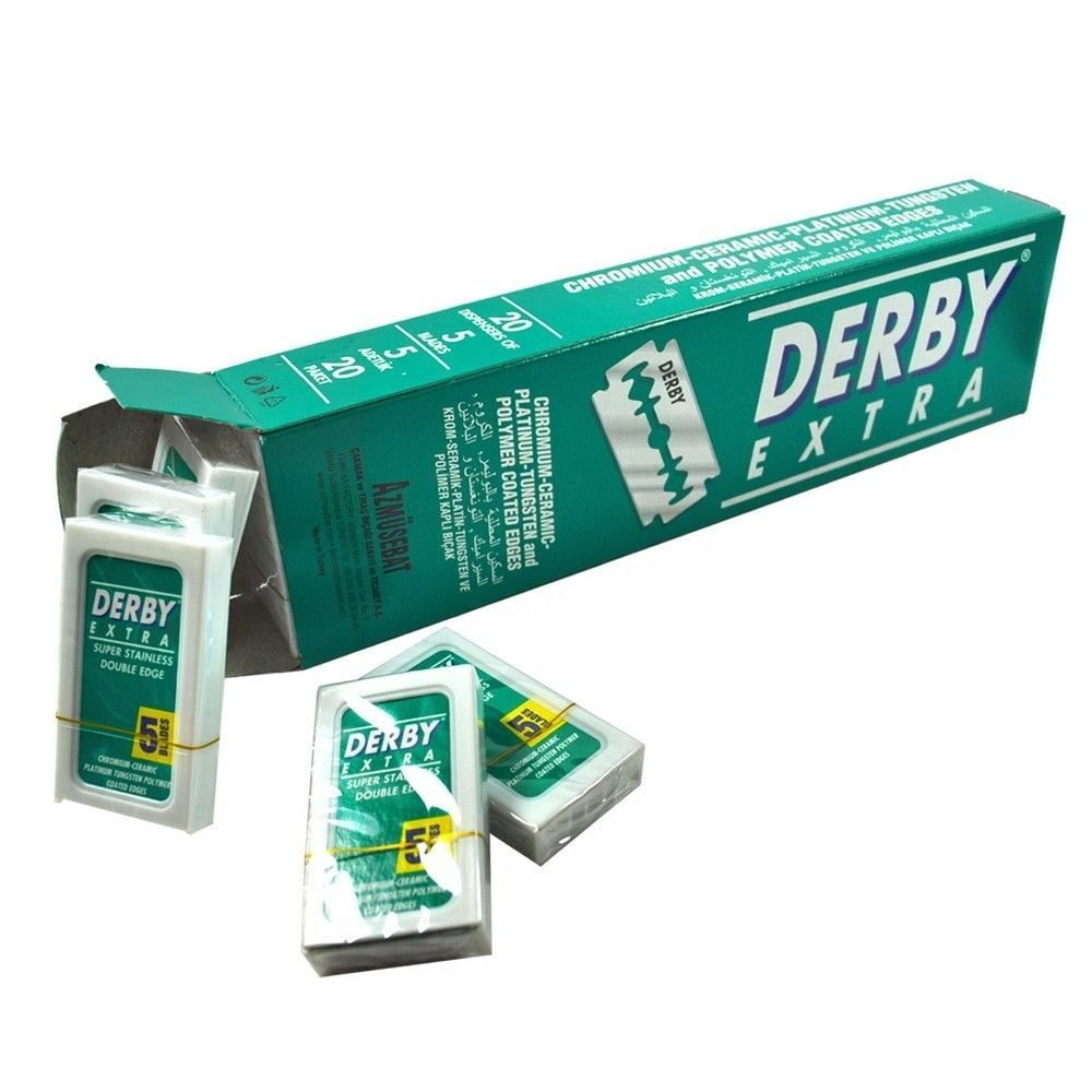 1b0563ccb43 Get Quotations · 100 Blades Derby Extra Super Stainless Double Edge Razor  Blades