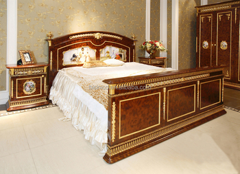 French Baroque King Size Gilt Brass Mounted Bed/ Porcelain ...