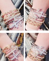 IN STOCK Fashion Women Jewelry Gold Silver Plated Crystal Rhinestone Charm Chain Beads Bracelet