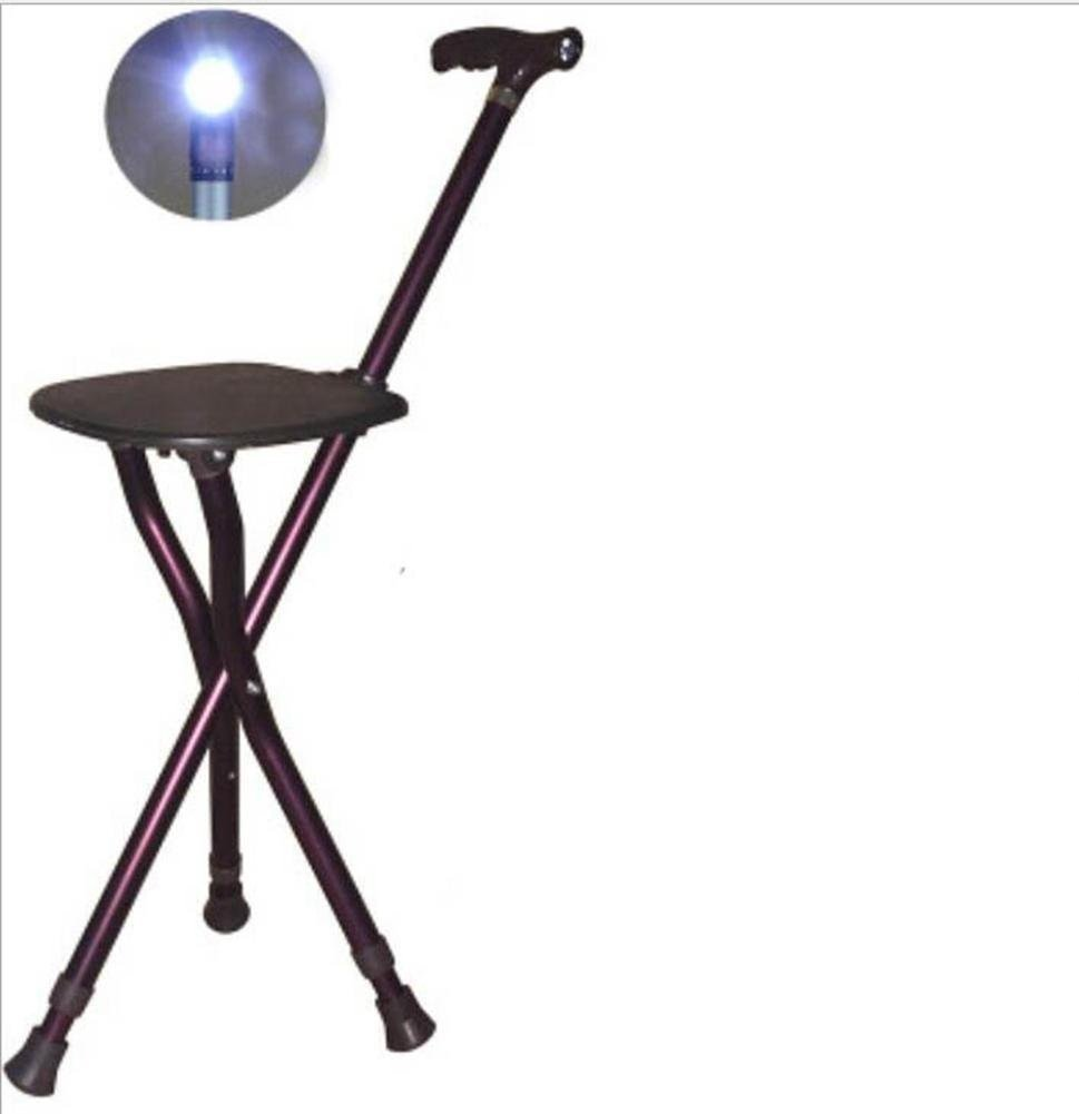 Walking stick / cane / retractable cane stool / multifunction / aluminum / adjustable LED light / three-legged cane chair