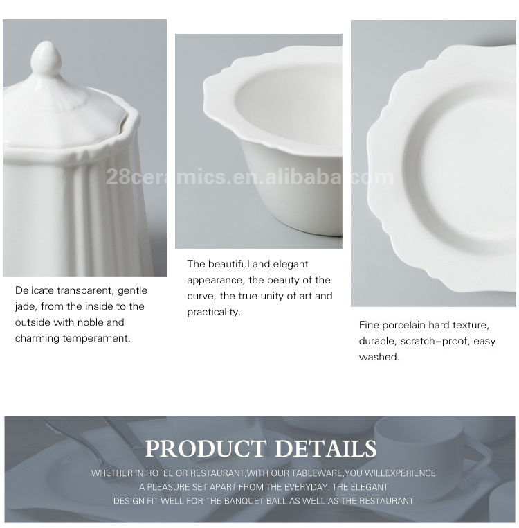 Top selling white high temperature porcelain dinnerware set