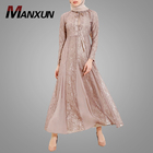 Latest Fashion Design Muslim Women Clothing Traditional Lace Style Long Sleeve Maxi Dress with Button Pakistan Kaftan Dresses