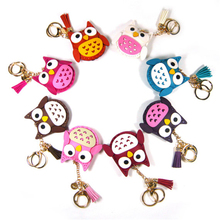 Lovely Girls Gift Faux Leather Owl Tassel Fringe Car Key Ring Chain Leather Keychain Wholesale with RFID Access Control Chip