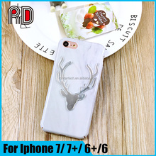 Christmas gift 2016 Luxury Deer Pattern Marble PC Back Cover for Iphone 7 shiny Phone case for Iphone 7 plus