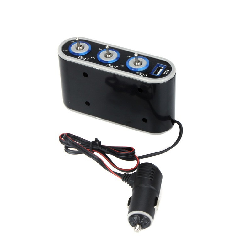 12V / 24V 3 In-car Cigarette Lighter Sockets Splitter Charger Power Adapter with Switch + USB Port car Accessories