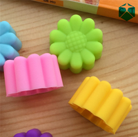 CTBED-QH-692 Flowers Silicone Muffin Cups Handmade Soap Molds Biscuit Chocolate Ice Cake Baking Mold Cake Pan
