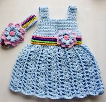 Yes Sister High Quality Crochet Baby Girl Dress Handmade Clothing