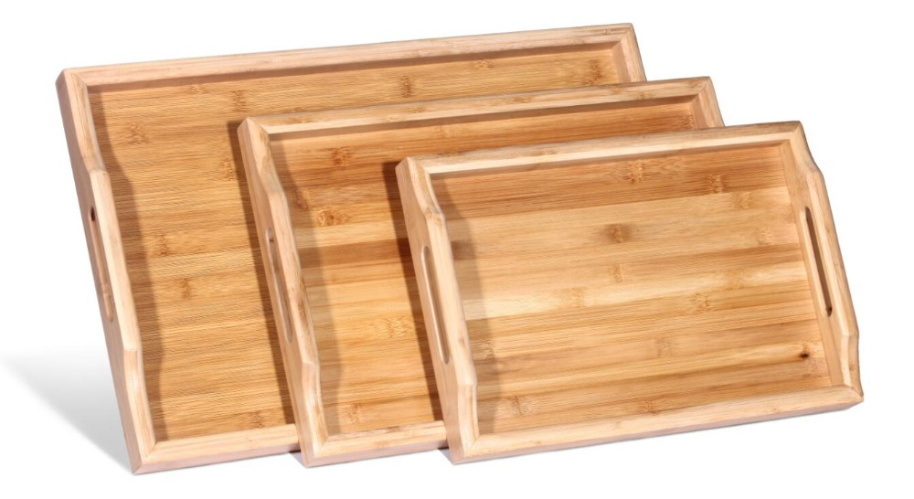 Waterproof Bamboo Tea Serving Tray Melamine Tray With Handles
