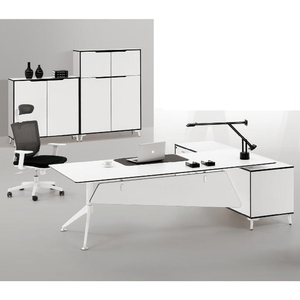 Luxury white executive desk set/high grade wood office desk with side cabinet(FOH-SM2318)