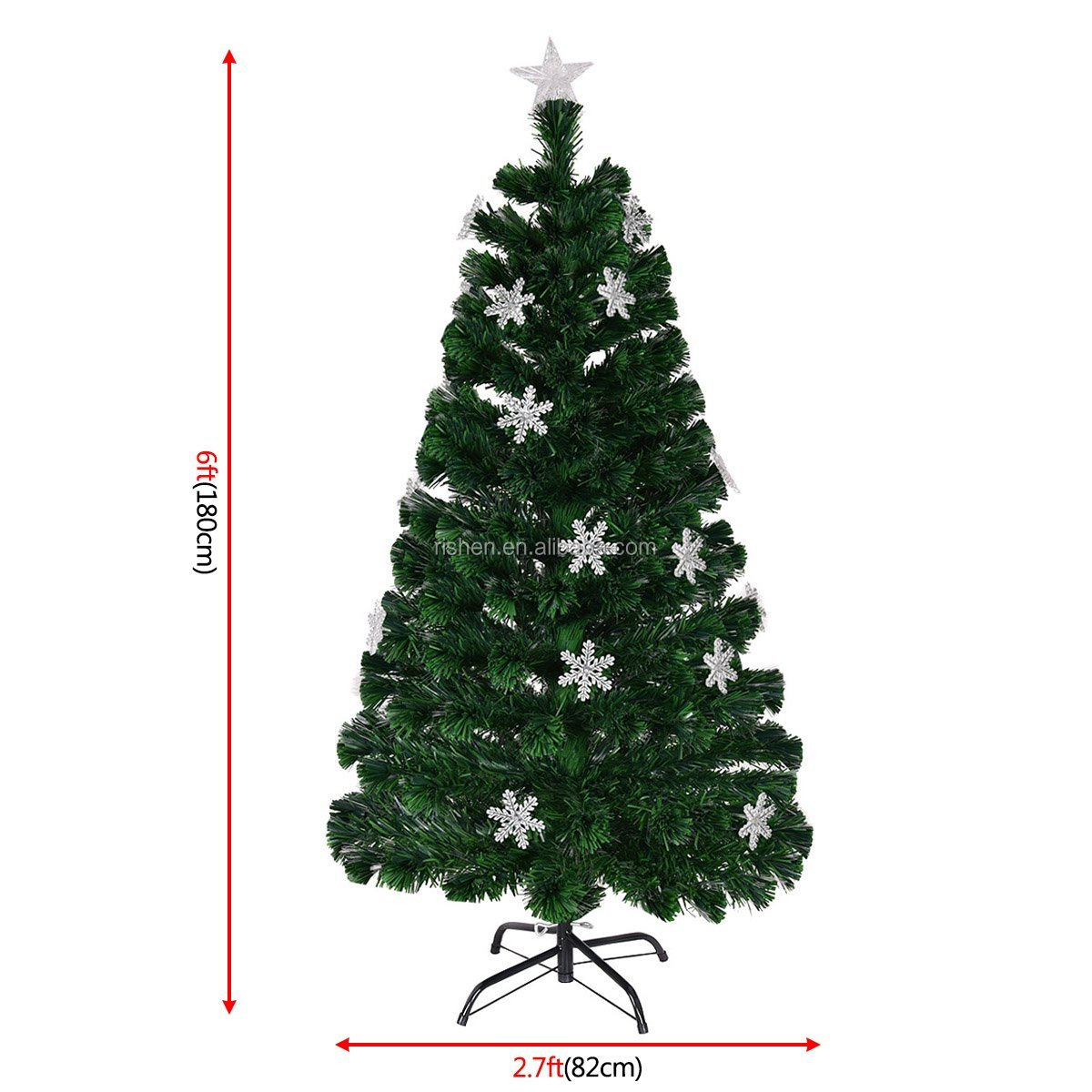 Artificial Christmas Tree With Lights.4ft Green Fibre Optic Artificial Christmas Tree Xmas Colourful Led Scattered Light Tree With Led Snowflake Ornaments Buy 4ft Green Fibre Optic