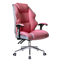 Comfortable lumbar support nap leather internet cafe office pink ergonomic computer chair