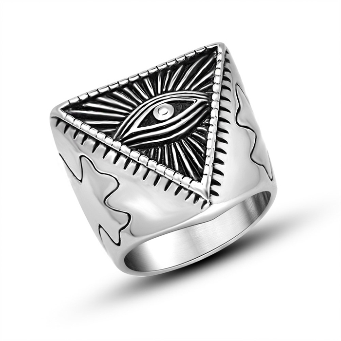factory wholesale stainless steel eye of providence all seeing eyes rings(YR-003)