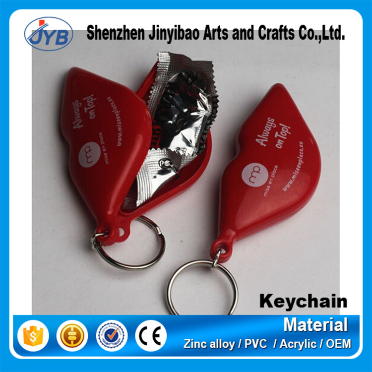 Fancy new design eco-friendly custom plastic condom shape keychain for promotion