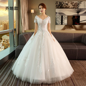 princess cut wedding dresses lace sheath casual dresses short sleeve party  wear gowns for ladies Long Tail Bridal Gowns